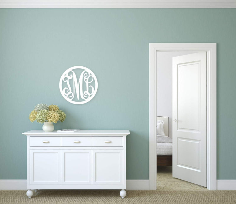 Circle Design Three Initial Wood Monogram