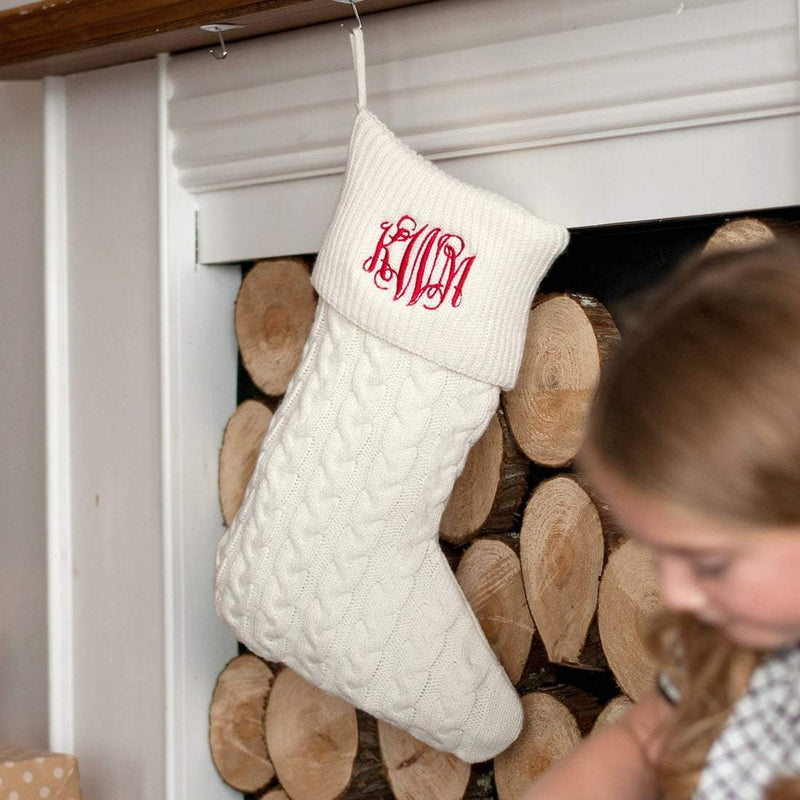 Creme Cable Knit Stocking