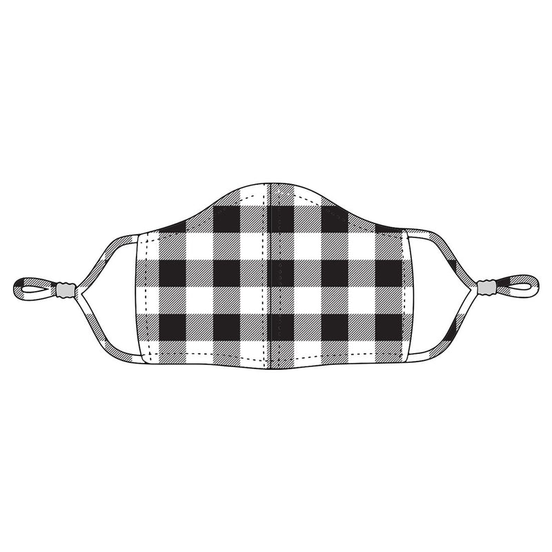 Black Buffalo Check Adjustable Adult Face Mask