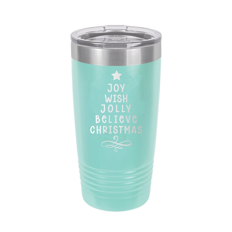 Joy, Wish, Jolly Tree Teal 20oz Insulated Tumbler