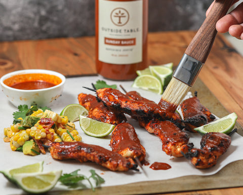 BBQ Chicken Skewers by Outside Table