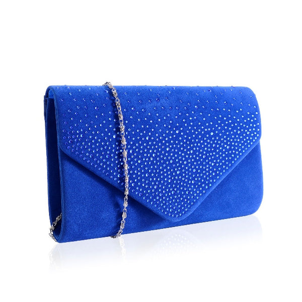Blue Diamante Velvet Bag