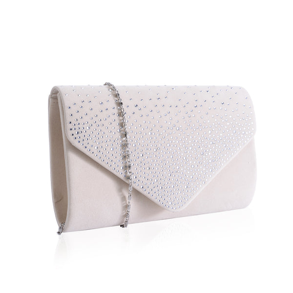 Champagne Diamante Velvet Bag