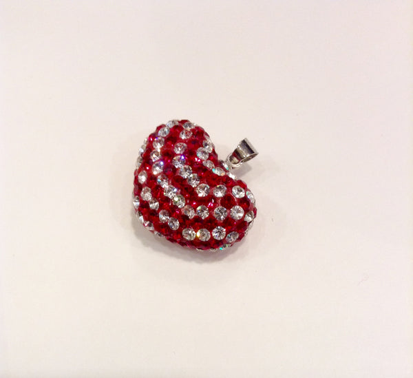 Red and Clear Cut Glass Heart Pendant