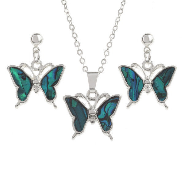 Blue Butterfly Pendant and Matching Stud Earrings