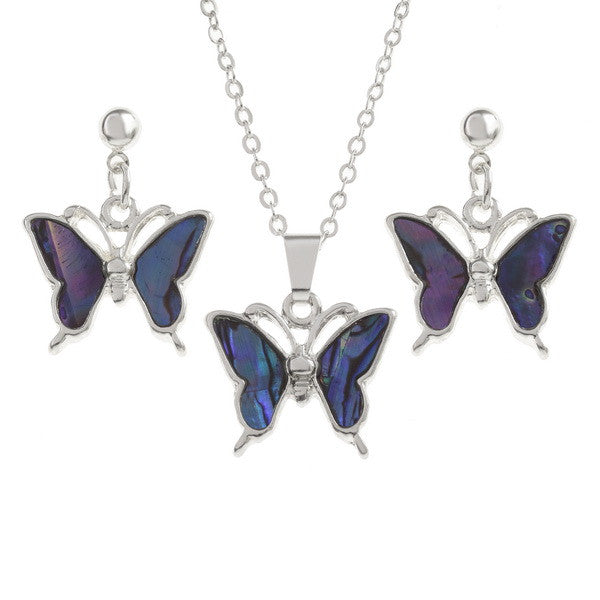 Purple Butterfly Pendant with Matching Drop Stud Earrings