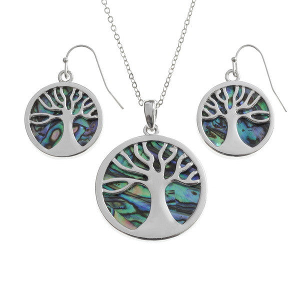Tree of Life Pendant with Matching Hook Earring Set