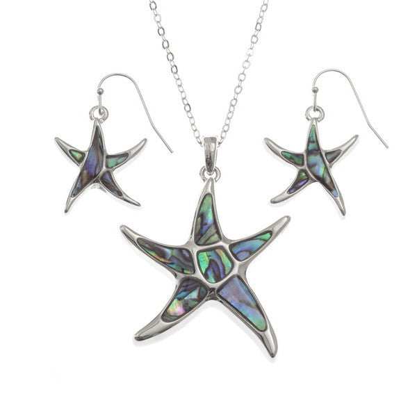 Starfish Pendant with Matching Hook Earring Set