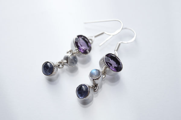 Amethyst, Moonstone and Kyanite Earrings