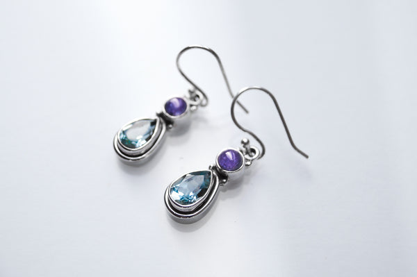 Blue Topaz and Iolite Sterling Silver Earrings