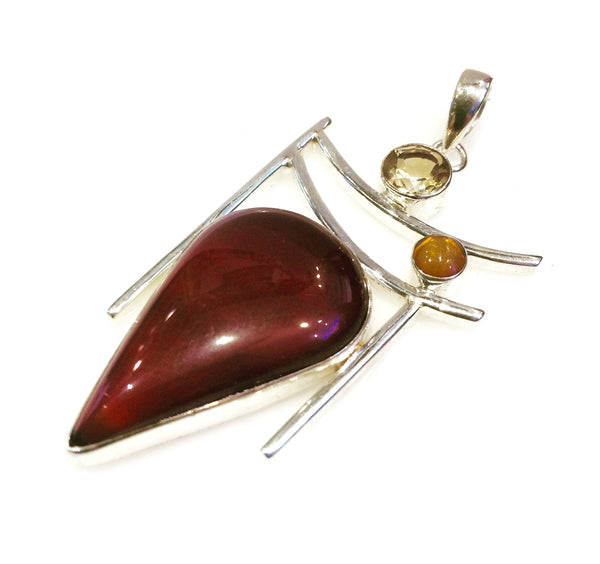 Carnelian and Citrine Pendant