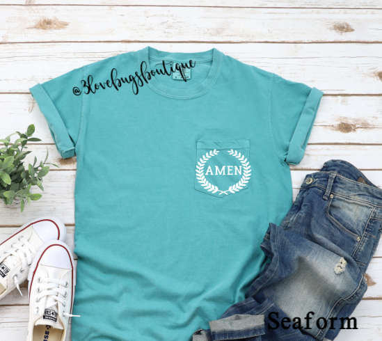Comfort Color Amen Pocket Tee - 3lovebugsboutique