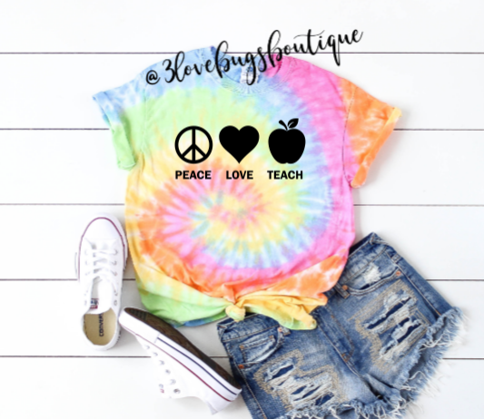 Peach Love Teach Tie Dye