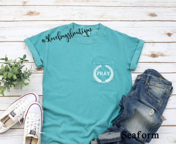 Comfort Color Pray Pocket Tee - 3lovebugsboutique