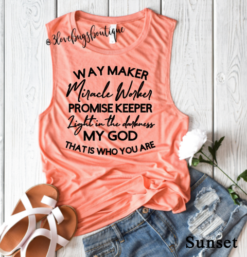 Waymaker Ladies Muscle Tank - 3lovebugsboutique