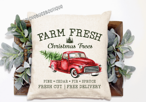 Farm Fresh Christmas Pillow Cover