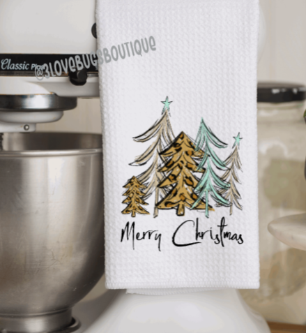 Leopard Christmas Trees Kitchen Waffle Towel