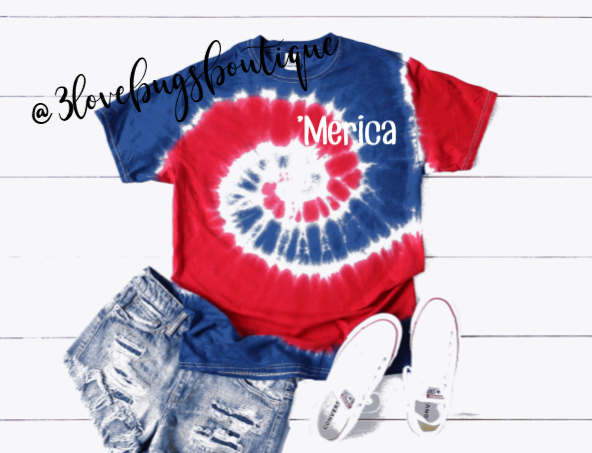 Merica Tie Dye-Red and Royal - 3lovebugsboutique