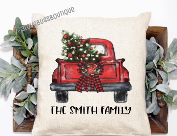 Red Truck Christmas pillow cover