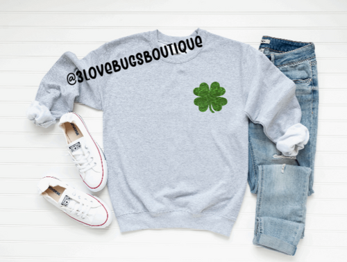 Pocket Shamrock Sweatshirt-Green Glitter