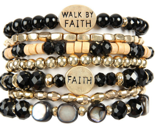 WALK BY FAITH BEADS BRACELET/6 pcs set