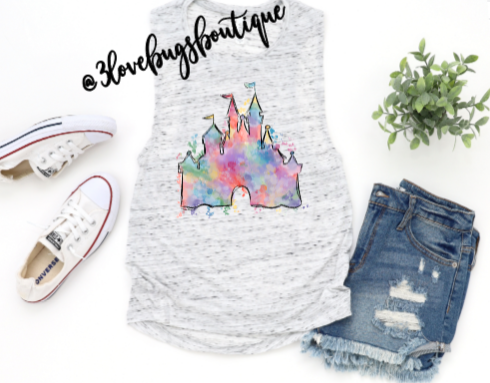 Watercolor Castle Disney Muscle Tank - 3lovebugsboutique