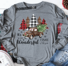 Load image into Gallery viewer, Most Wonderful Time of the Year Christmas Trees Long Sleeve Shirt-Grey Triblend