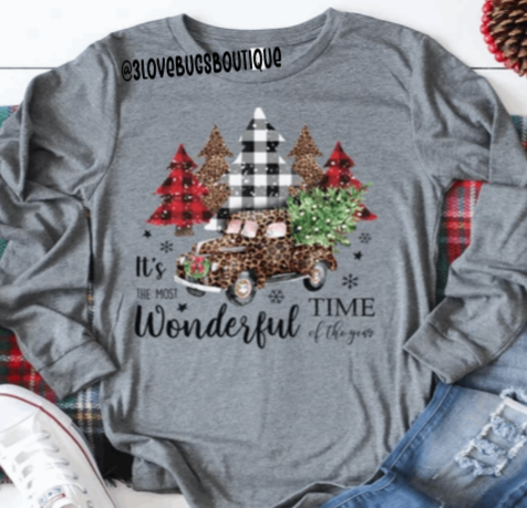 Most Wonderful Time of the Year Christmas Trees Long Sleeve Shirt-Grey Triblend