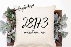 Zip Code Pillow Cover
