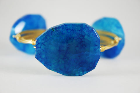Cracked Blue Agate Stone Bangle