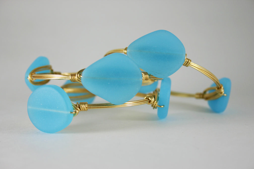 Sky Blue Sea Glass Bangle