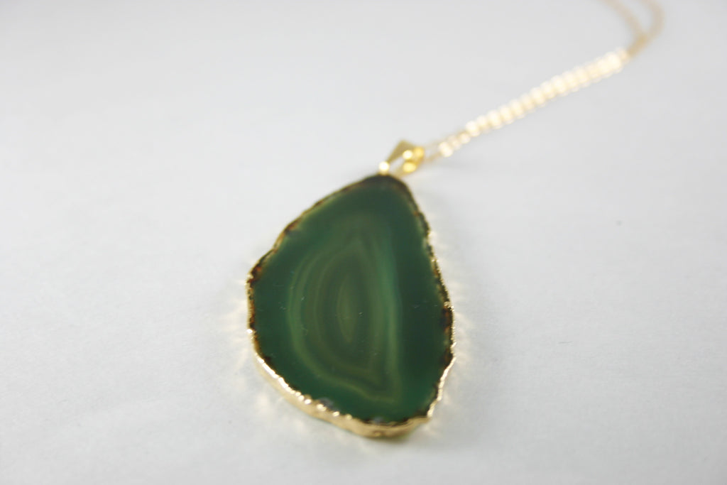 Emerald Green Agate Slice Necklace