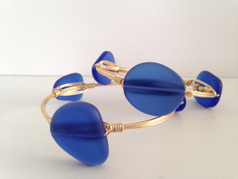 Cobalt Blue Sea Glass Bangle