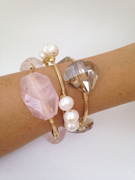 Champagne Fan Crystal Bangle