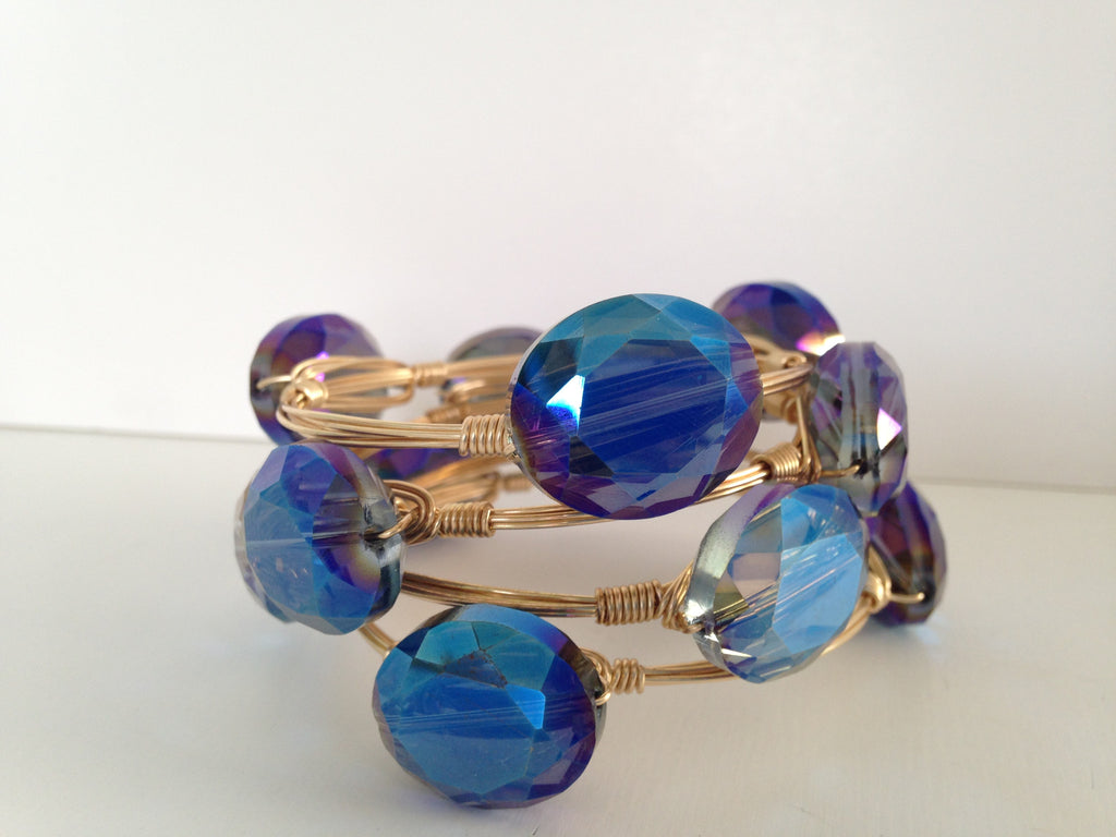 Peacock Iridescent Crystal Bangle