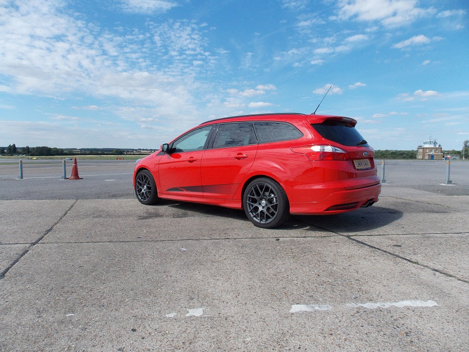 Steeda Focus ST on track at North Weald Airfield for testing