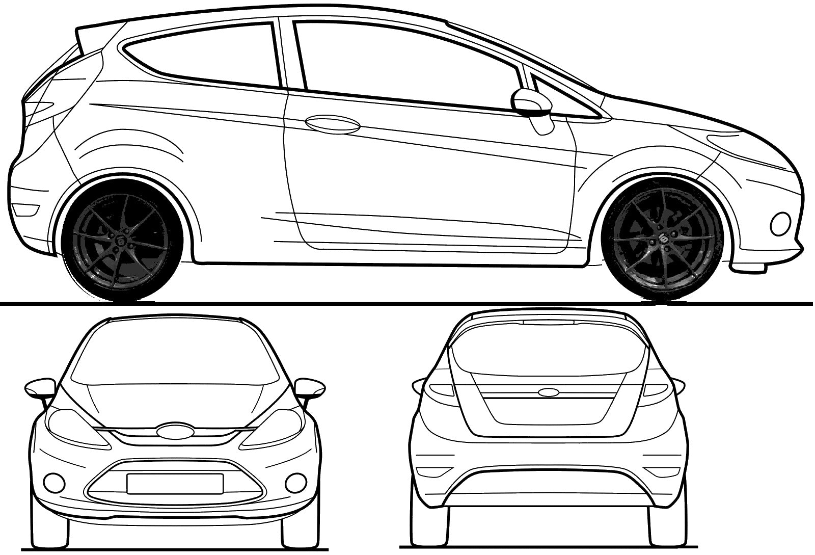 Steeda Fiesta ST Wrap Competition template for design