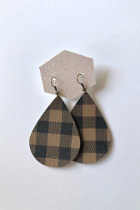 Brown Buffalo Plaid Teardrop Faux Leather Earring