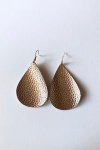 Metallic Rose Gold Teardrop Faux Leather Earring