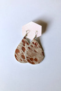 Rose Gold Cowhide Genuine Leather Teardrop Earring