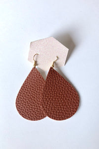 Brown Teardrop Faux Leather Earring