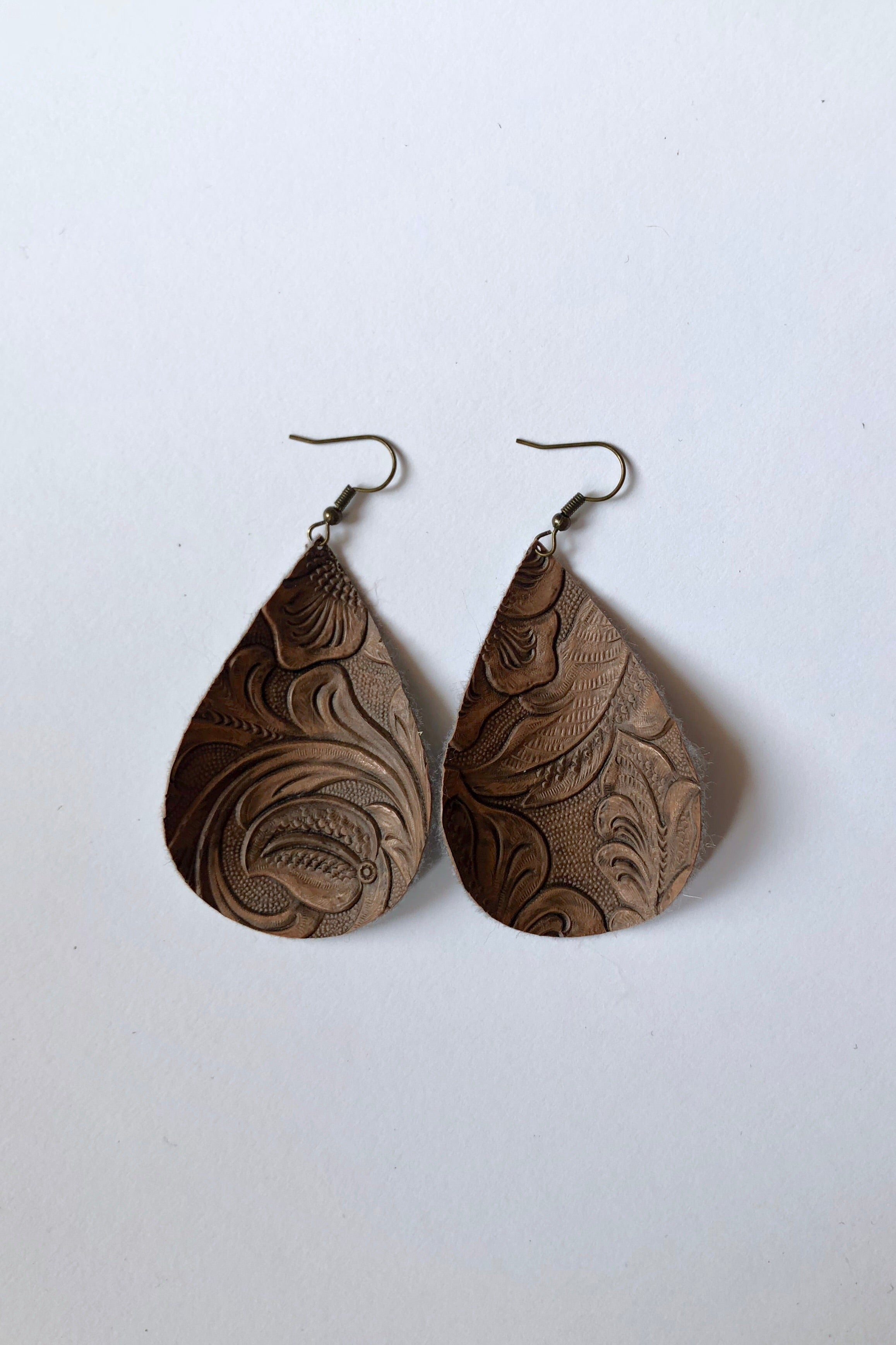 Floral Brown Teardrop Faux Leather Earring