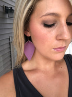 Plum Feather Faux Leather Earring
