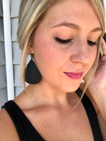 Black Teardrop Faux Leather Earrings
