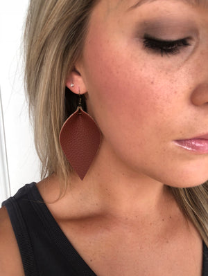 Brown Feather Faux Leather Earring
