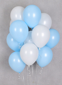 Balloon Bouquets - Baby Blue & White Balloons