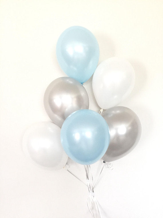 Balloon Bouquets - Baby Blue, Grey, & White Balloons