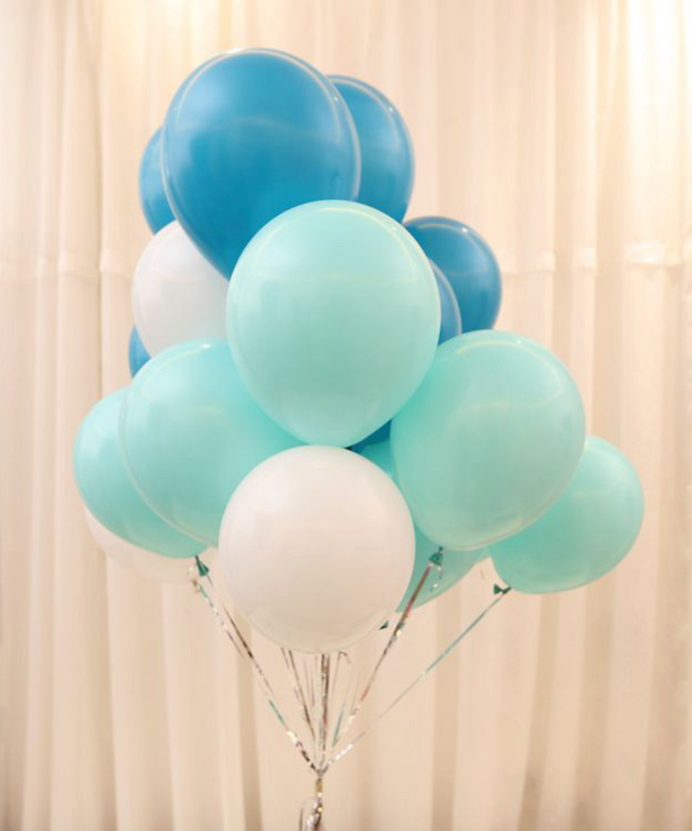 Balloon Bouquets - Mint Green/Blue/White Balloons