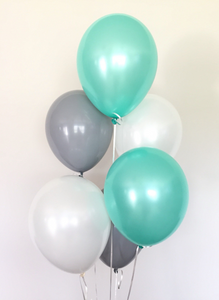 Balloon Bouquets - Mint Green/Grey/White Balloons
