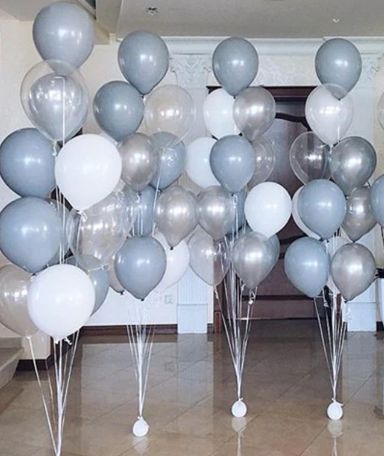 Balloon Bouquets - Grey/White/Clear Balloons